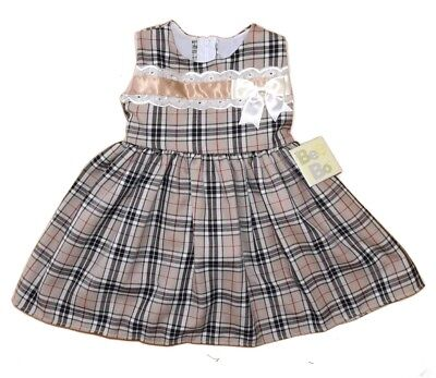 Gold Tartan British made dress/Burberry  design RRP £ over 50 Made in the UK