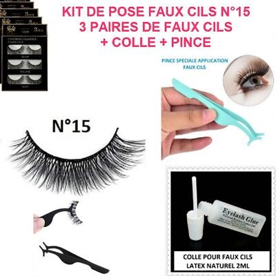 Kit Pose Faux Cils  Colle  Pince Extension Long Epais Naturel Maquillage Cil007