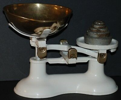 Vintage Boots Nottingham Candy Scale in White Brass Bowl w/ Weights