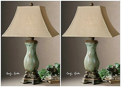 Two French Farmhouse Ceramic Table Lamps Burlap Shades