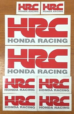 8 x HONDA HRC Red & Grey Stickers/Decals  Printed and Laminated
