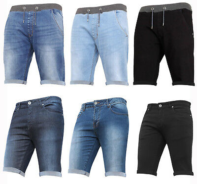 New Boys Denim Stretch Shorts Elasticated Jeans Ribbed Pull On Holiday Kids