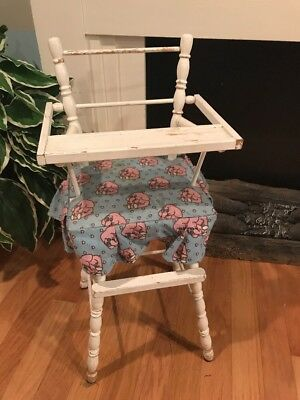 Vintage Doll High Chair White Wood