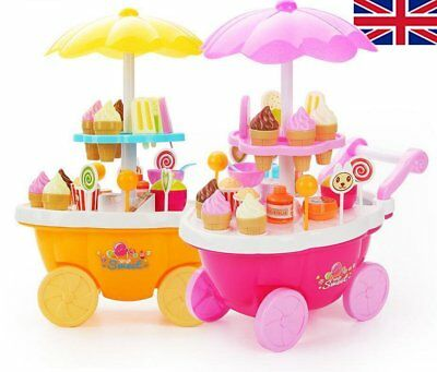 Kids Electrical Trolley Pretend Shop Ice Cream Candy Roll Play Toys Playhouse
