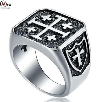 NFS Cool Jerusalem Cross Ring 316L Stainless Steel Crusaders Religious Jesus Chr