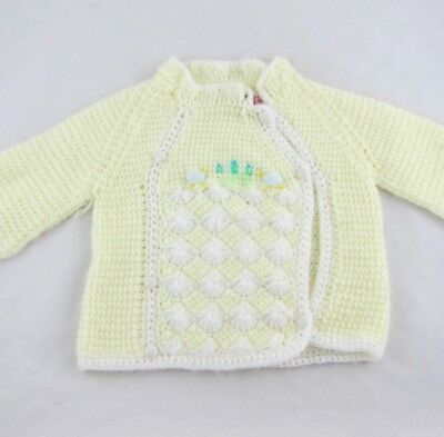 Vintage Baby Sweater Pastel Yellow & White Knit Togs 6-12 Month Hand Knit Top