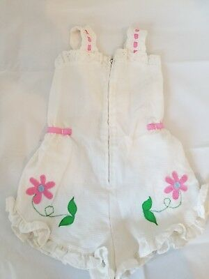 Vintage Baby Girls Yardbritches by editex Romper white w/ flower 12m pre-owned