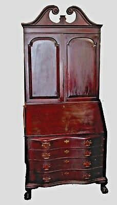 Vintage Depression Era Blind Door Mahogany Secretary with Hutch