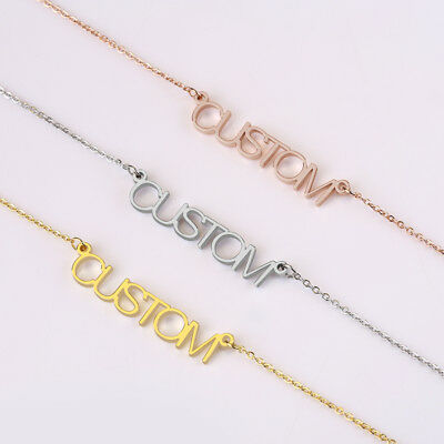 69eb3fc11 Name Necklace Gold Stainless Steel Personalized Custom Nameplate Pendant  Silver