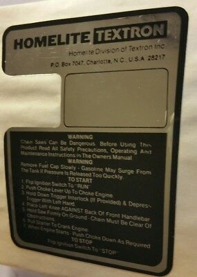Nos Oem Homelite Decal - Plate Instructions, For Super 2 & Xl, P/n 70835