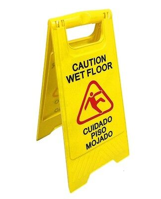 "English&Spanish ""Wet Floor"" Sign, Case of Two, Bright Yellow,Plastic[290391-BAI]"