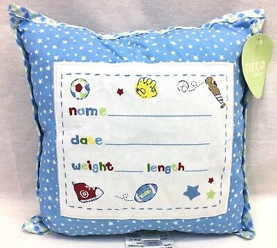 Circo Baby Boy Small Memory Info Pillow Plush Sports Blue White Jenny Jeff Tag
