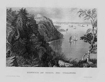 1840 Weehawken Township Hudson New Jersey New York Amerika engraving Stahlstich
