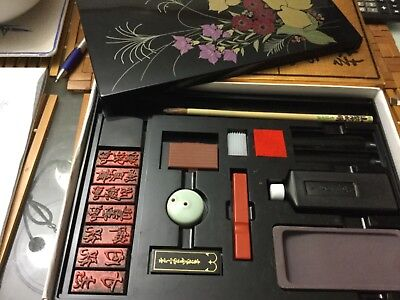Oriental CALLIGRAPHY kit with stamps, ink, inkwell etc in a lacquer box VGUC