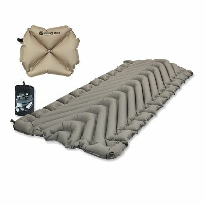 Klymit Static V Luxe Grey Sleeping Pad Travel Mat w/ Pillow X Recon