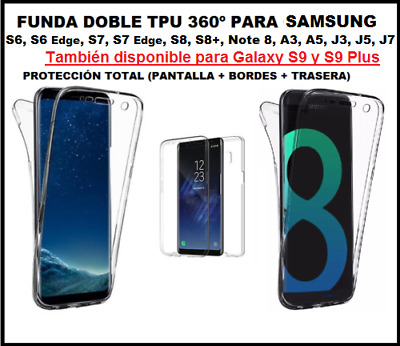 Funda DOBLE 360º SAMSUNG GALAXY S9 s8 plus A8 NOTE 8 j3 j5 j7 a3 a5 s6 edge s7