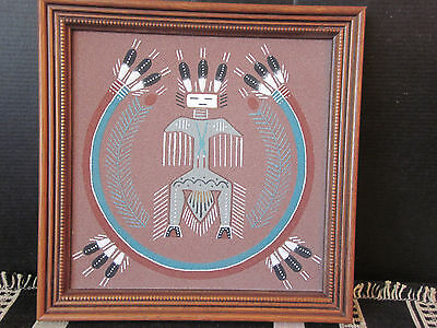 1990's Navajo Native American Sand Art Painting Thunderbird Signed Patricia Ben