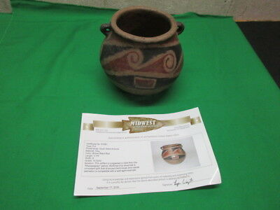 """Authentic Native American Mississippian Hand Painted Pot 6"""" with COA"""