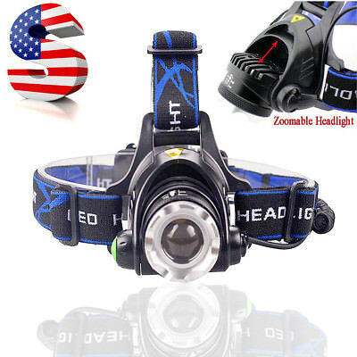 Tactical Rechargeable Zoomable 50000LM 3 Modes T6 LED Headlight Headlamp 18650