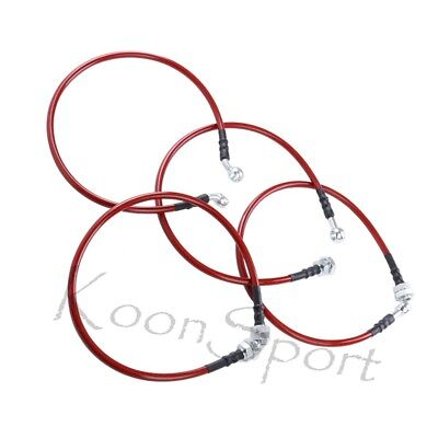 01-05 Honda Civic Front Rear Red Stainless Steel Hose Oil Brake Line Cable Black