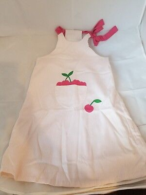 Vintage girls jumper dress pink & white w a bowl of cherries 4T-5T pre-owned