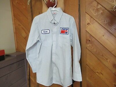 Pepsi Delivery Drivers Shirt Pin Stripes Long Sleeve Uniform Advertising 15 1/2