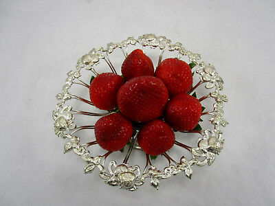 Antique English Silver Plate Footed Strawberry Repousse Berry Bowl Basket