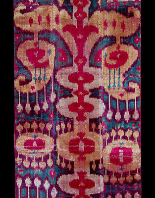 Rare Antique Uzbek Bukhara Silk Velvet Ikat Panel