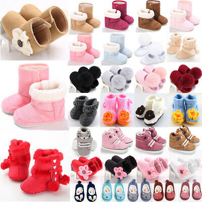 Baby Kids Girls Winter Warm Fleece Knit Snow Boots Booties Crib Shoes 0-5Y Lot