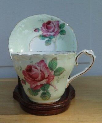 PARAGON By Appointment Fine Bone China GREEN TEA CUP & SAUCER Cabbage Pink Rose