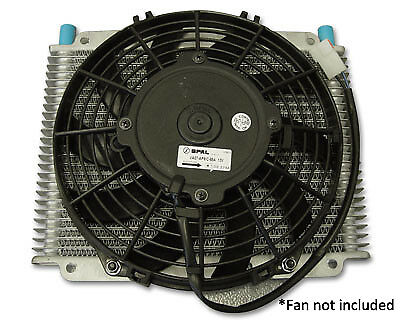 """PWR Trans Oil Cooler - 280 x 255 x 19mm (-6 AN fittings)11""""SPAL Mounts PWO1223SP"""