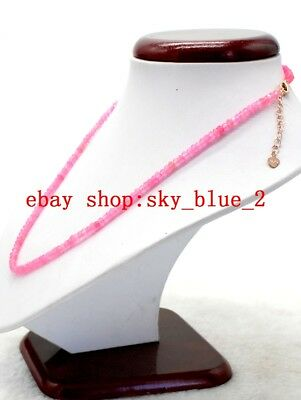"""Elegant 2X4MM Pink Jade Faceted Rondelle Gemstone Beads Necklace 18/""""AA"""