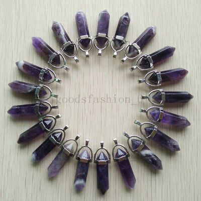 Wholesale 24pcs/lot Natural amethyst stone Point Chakra Healing Gemstone Pendant