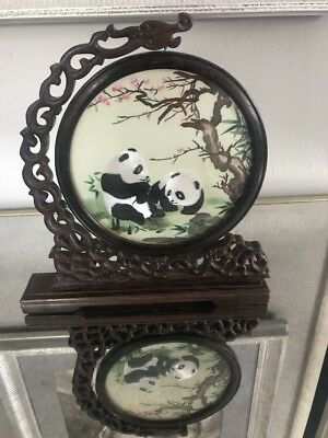 Vtg.Chinese double-sided silk embroidery art panda and plum blossom screen