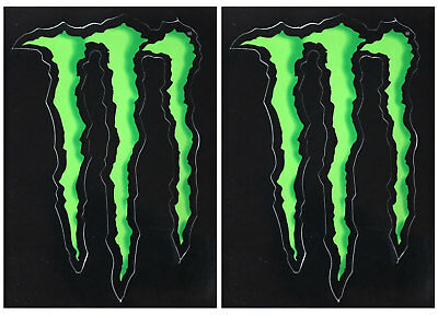 "2 x MONSTER ENERGY GREEN CLAW VINYL STICKERS (Approx 4.5"" Inches) F1 MOTOGP"