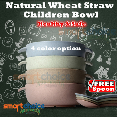 Healthy & Safe baby bowl kid bowl natural wheat straw bowl kid's bowl spoon baby