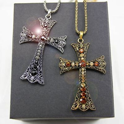 Women Vintage Cross Pattern Crystal Rhinestone Silver Color Chain With Pendant