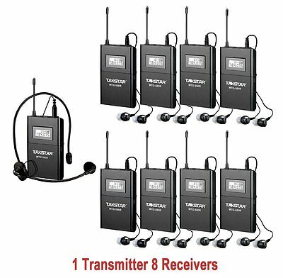 WTG-500 UHF Tour Guide Wireless System 1 Transmitter 8 Receivers For Church Meet