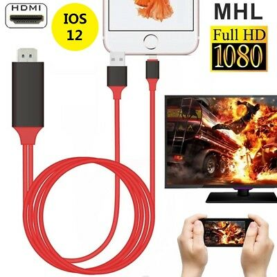 Lightning To HDTV HDMI AV TV Adapter Video Output 2M Cable For iPad iPhone IOS11