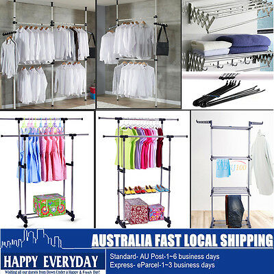 8Type Clothes Rack Garment Display Rolling Portable Rail Hanger Dryer Stand HOT