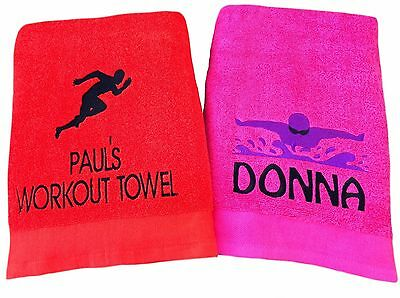 Personalised Embroidered Sports Swimming Beach Bath Gym Towel