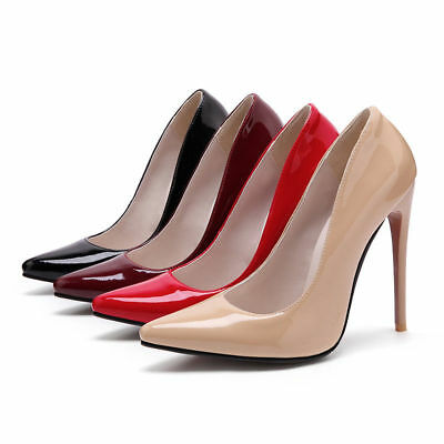 Women's Plus Size High-Heeled Pointed Shoes Shiny Synthetic Leather Party Pumps