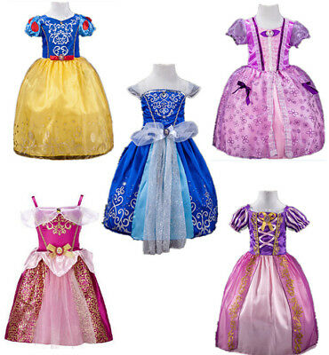 Cinderella Rapunzel Tangled Princess Cosplay Costume Kids Girls Dress Party Gown