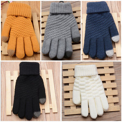 Women Men Knitted Gloves Soft Wool Winter Warm Gloves Touch Screen Mobile Phone