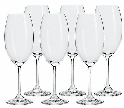 Bohemia Set of 6 Red & White Wine Glasses Crystal Stemmed 630ml Boxed SIX PACK