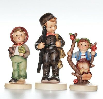 Hummel 3 X Figurines, Chimney Sweep, Apple Tree Boy, Lost Stocking, All Damaged