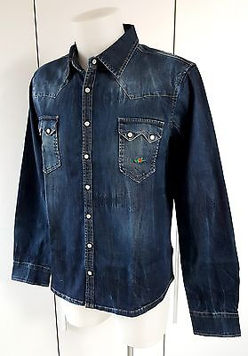 """el Charro"" Camicia In Jeans Denim Scuro (Taglia Xl) Made In Italy (Paninaro)"