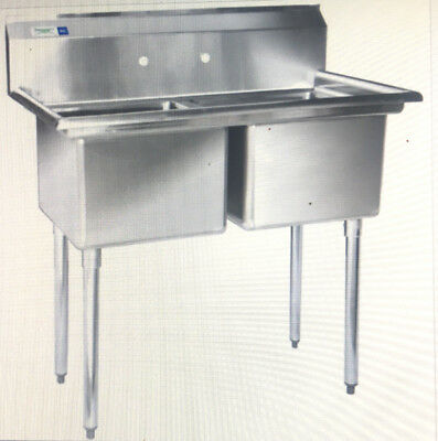 """Regency 41"""" 16-Gauge Stainless Steel Two Compartment Commercial Sink 600s21717"""