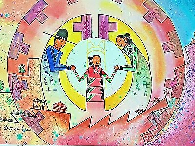 Elmer Yazzie Navajo Art Signed Numbered w Certificate Prov 22:6 Train Up a Child