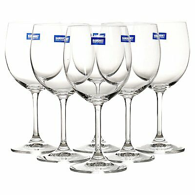 Bohemia Crystal Set of 6 240ml Clear Red & White Wine Glasses Tempered Glass